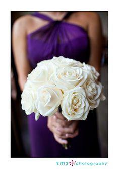 cream rose bouquet with dark purple dresses! Just add some crystals Wedding 2015, Dream Wedding, Wedding Ideas, All Flowers, Wedding Flowers, Got Married, Getting Married, Dark Purple Dresses, Cream Roses