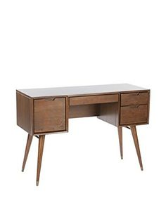 Control Brand The Mid Century Arvin 3-Drawer 1-Door Vanity Desk, Espresso