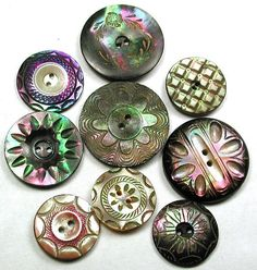 Antique Iridescent Carved Shell Buttons, Fancy Designs and Various Sizes.