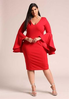 Plus Size Clothing   Plus Size Bell Sleeve Bodycon Dress   Debshops