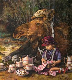 How those of us in the States think Canadian girls have tea parties...Art by Lori Preusch