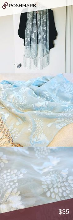 """Light teal blue floral chiffon velvet beaded scarf This is a light teal blue floral chiffon velvet beaded scarf. It has a peacock velvet pattern on the chiffon fabric. This is a very classy scarf to dress up any outfit. It has beaded teal green tassels at the endings. Size 12""""x61"""". In good condition. Very soft scarf. Accessories Scarves & Wraps"""