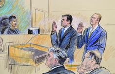 A courtroom sketch shows President Trump's former campaign chairman, Paul Manafort, and a former business