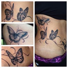 Butterfly's on hip tattoo.
