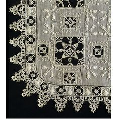 Handkerchief made in Italy ca 1600. Linen with cut work, needle lace and embroidery. Victoria and Albert Museum Collection, London