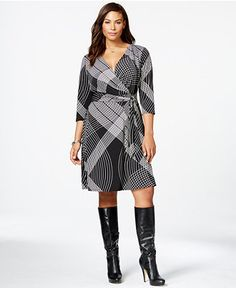 22525198515 NY Collection Plus Size Printed Side-Tie Wrap Dress Plus Sizes - Dresses -  Macy s
