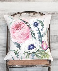 Pillow Cover Pastel Floral Rose and Anemone