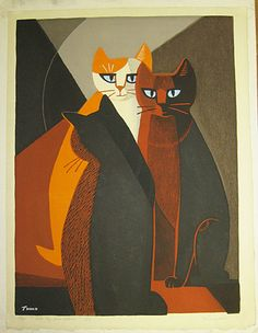 Cats by Fireplace (c. 1960), woodblock - Tomoo Inagaki