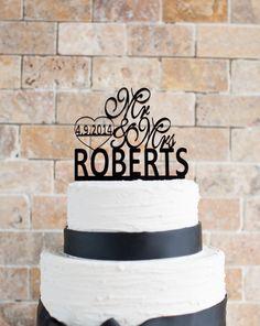 Customised Wedding Cake Topper 6' length by VVDesignsShop2 on Etsy, $30.00