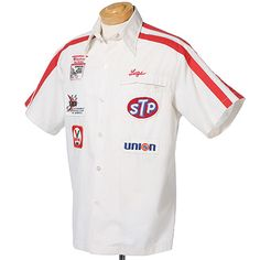 STROKER ACE - Lugs Harvey (Jim Nabors) red and white NASCAR pit crew shirt ~ $350
