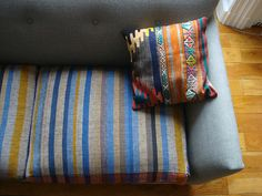 ethnic pillow and vintage striped fabric