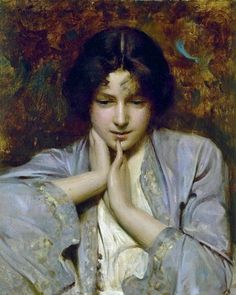 "1896, ""Portrait of a Girl"" - by Arthur Hacker (1858-1919)"