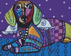 Modern Cross Stitch 'Dachshund Doxie Art Angel' By Heather Galler -  Dog Angel CrossStitch Kit