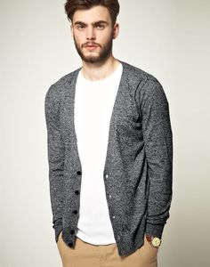 dark grey cardigan with a classic white tee and pants