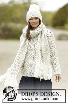"Snow Storm - Knitted DROPS jumper, scarf and hat with seed st in 2 strands ""Cloud"". Size: S - XXXL. - Free pattern by DROPS Design"