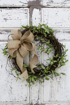 Farmhouse Wreath Greenery Wreath Primitive Wreath Everyday