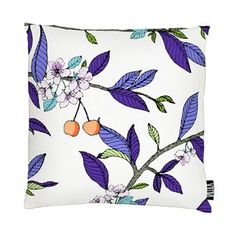 Renew your sofa with the lovely Kirsikka cushion cover designed by Tanja Orsjoki for Vallila. The cushion cover is made of cotton and polyester and has a pretty pattern with a cherry tree motif featuring detailed flowers, berries and branches. Match the cushion cover with other fine textile products from Vallila to decorate your home with! Choose between different colors.
