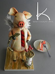 CuPig Cupid Sculpted Cake by Kara's Couture Cakes