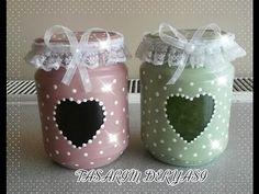 Kendin Yap! Parfüm şişelerinden dekoratif obje yapımı :) - YouTube Diy Bottle, Wine Bottle Crafts, Mason Jar Crafts, Mason Jar Diy, Bottle Art, Decoupage Jars, Painted Jars, Decorated Jars, Camping Crafts