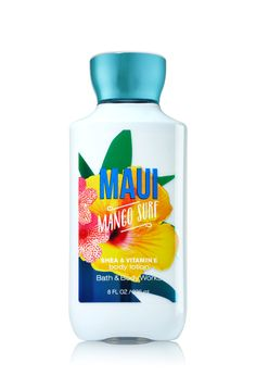 Bath & Body Works Maui Mango Surf Body Lotion | A tropical trio of ruby mango, guava nectar and coral hibiscus | Top Notes: Ruby Mango, Polynesian Tangerine, Guava Nectar, White Pineapple Mid Notes: Mango Mai Tai, Sun-bleached Driftwood, Coral Hibiscus, Hawaiian Lily, Pacific Blue Accord Dry Notes: Island Sandalwood, Skin Musk, Lanai Ylang