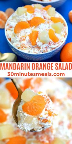 Mandarin Orange Salad is creamy, cool, and studded with juicy orange and pineapple slices #salad #dessert #manadarinsalad #mandarinorangesalad #30minutesmeals