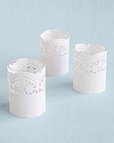 Doily-wrapped votives. Pretty and inexpensive way to make nice candles--especially when you need lots of them!