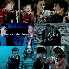 i'm guessing this was made by a harry+hermione shipper. i don't ship them but i really like the way it was put together Harry Potter Hermione Granger, Harry Potter Spells, Harry Potter Jokes, Harry Potter Characters, Harry Potter Fandom, Harry Potter World, Harry Potter Ships, Drarry, Dramione