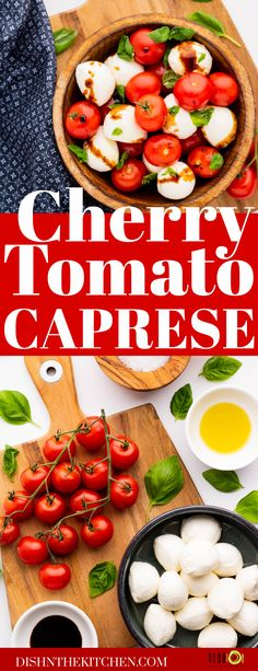 Cherry Tomato Caprese Salad is a summery Italian salad featuring ripe cherry tomatoes, fresh basil, and fresh mozzarella. It's drizzled with high quality olive oil and a sweet tart balsamic reduction. Tomato Caprese, Caprese Salad, Cobb Salad, Balsamic Reduction, Italian Salad, Fresh Mozzarella, Sweet Tarts, Fresh Basil, Cherry Tomatoes