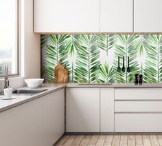 Modna tapeta na ścianę w liście palmowe #kuchnia #tapeta #liscie #palma #lisciepalmowe #natura #wnetrze #kitchen #wallpaper #leaves #palm #palmleaves #nature #interior