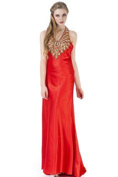 Open Back Halter A-line Red Satin Prom Dress JSLD0179