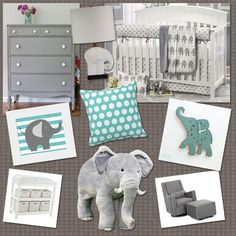 Teal Grey elephant inspired baby room