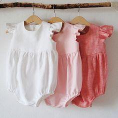 Handmade Flutter Sleeve Linen Baby Rompers | EmyAndPears on Etsy