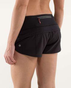 "Lululemon ""Run:Speed Short*Blockit"" running shorts with a zippered back pocket."