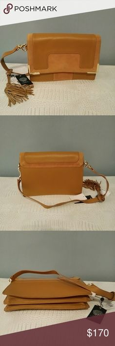 Genuine leather and suede handbag Mustard yellow Dustbag included Vince Camuto Bags
