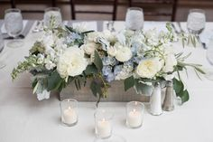 Serenity Blue floral table centerpiece for a baby boy shower at Willowdale Estate, Topsfield MA (800x533)