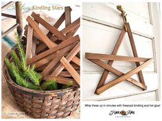 Create these cool Christmas firewood kindling stars in minutes... with just kindling and hot glue! via http://www.funkyjunkinteriors.net/