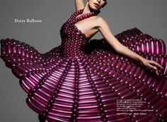 Dress made entirely of balloons.