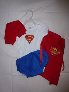Superman costume Superman onsie diaper cover outfit  Superman cape Superhero capes. $40.00, via Etsy. Would be easy to make myself