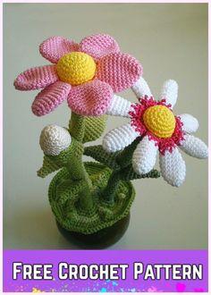 Crochet Flower pot amigurumi free pattern via Ravelry Crochet Puff Flower, Crochet Cactus, Crochet Flower Patterns, Cute Crochet, Crochet Flowers, Pattern Flower, Daisy Pattern, Beautiful Crochet, Beautiful Flowers