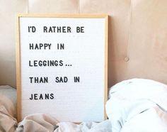 Happy in leggings.