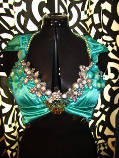 Turquoise Bellydance Gypsy Burlesque Bra via Etsy.