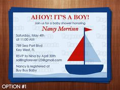 Printable DIY Blue and Red Sailboat Nautical by PapercutsPartyShop, $12.00