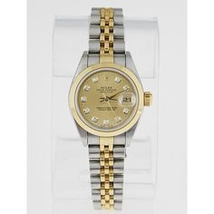 Pre-owned Rolex 26mm Stainless Steel 18k Yellow Gold and Diamond... ($4,995) ❤ liked on Polyvore featuring jewelry, watches, rolex watches, 18k watches, gold watches, 18 karat gold jewelry and diamond jewelry