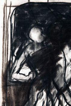 "Serge KANTOROWICZ : ""Pendant la lecture de Bruno Schulz"" (detail), 2005 | Charcoal on paper; 76 x 57 cm | Offered via PHYLLIS LUCAS GALLERY"