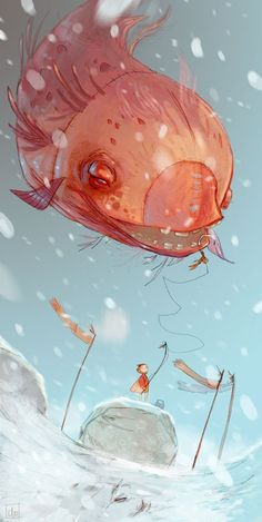 Fishing The Flying Fish - A gallery-quality illustration art print by Clo for sale.