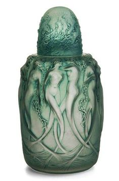 "A Lalique 'Sirenes' perfume burner, in clear and frosted glass with blue patina, molded ""R. LALIQUE"" ca. Lalique Perfume Bottle, Antique Perfume Bottles, Vintage Bottles, Art Deco, Art Nouveau, Perfumes Vintage, Beautiful Perfume, Royal Doulton, Glass Bottles"