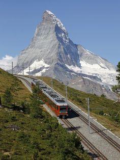 Gornergrat Railway in Front of the Matterhorn,  Switzerland