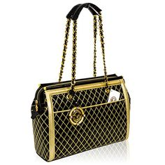 fa19a35af3750 Valentino Orlandi Italian Designer Black w Gold Quilting Leather Bag w Chain