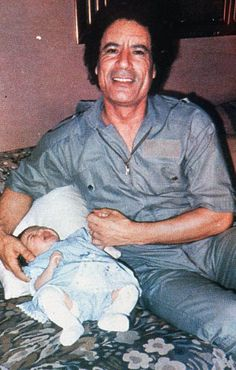 Part of a propaganda card showing Muammar Gaddafi's daughter Hana in 1986. Click right to see the whole picture. Photograph: Sipa Press / Rex Features.