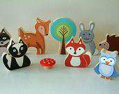 I like the looks of these animals. I want a fox, owl, dear, tree, mushroom, acorn and porcupine.